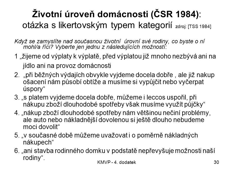 Životní úroveň domácnosti (ČSR 1984): otázka s likertovským typem kategorií zdroj: [TSS 1984]